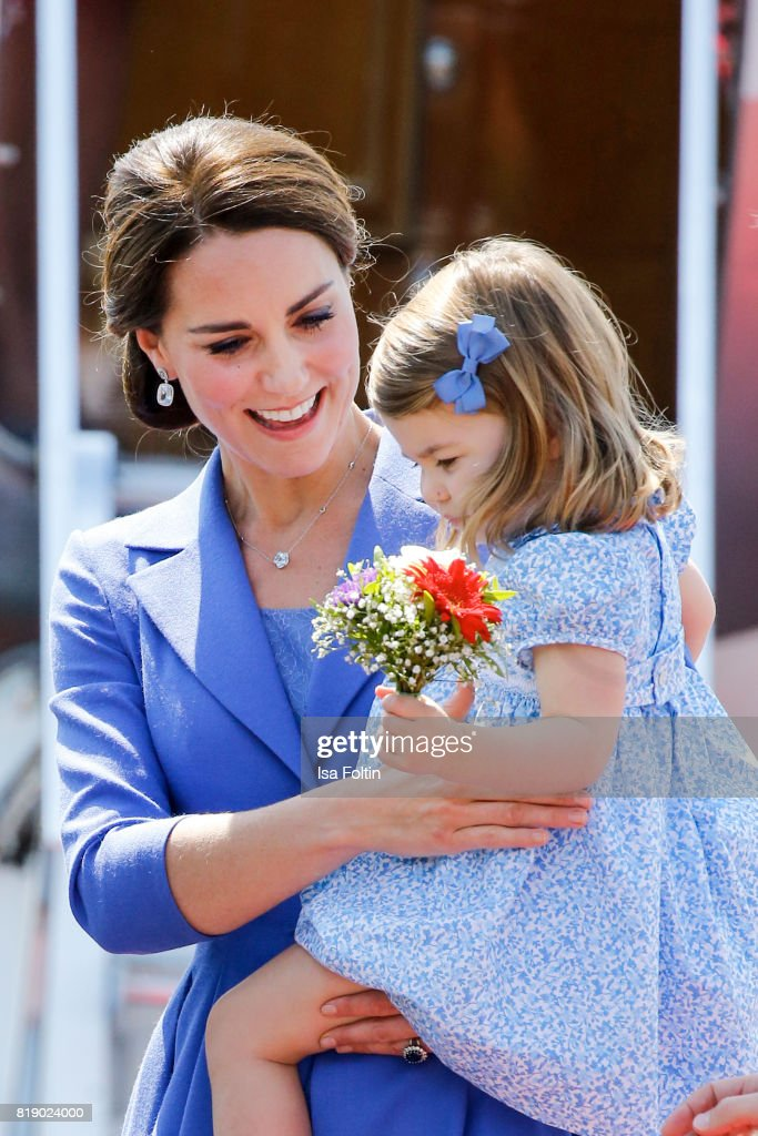 Catherine Duchess of Cambridge and Princess Charlotte of Cambridge during an official visit to Poland and Germany on July 19, 2017 in Berlin, Germany.