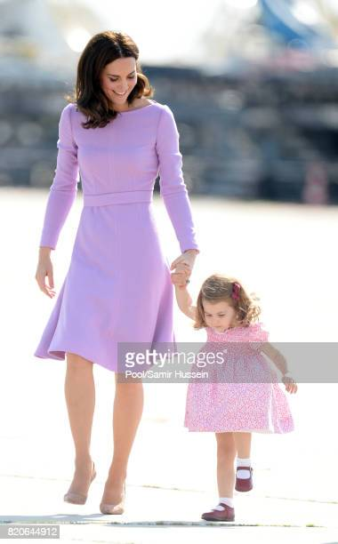 Catherine Duchess of Cambridge and Princess Charlotte of Cambridge depart from Hamburg airport on the last day of their official visit to Poland and...
