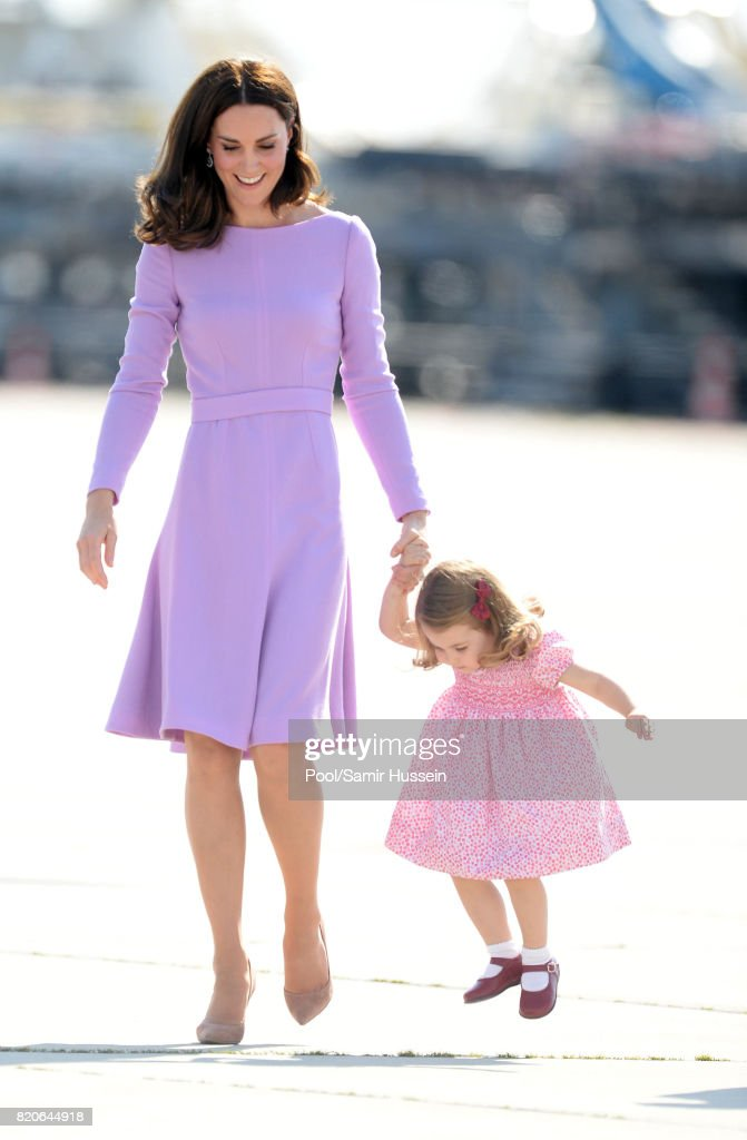 Catherine, Duchess of Cambridge and Princess Charlotte of Cambridge depart from Hamburg airport on the last day of their official visit to Poland and Germany on July 21, 2017 in Hamburg, Germany.