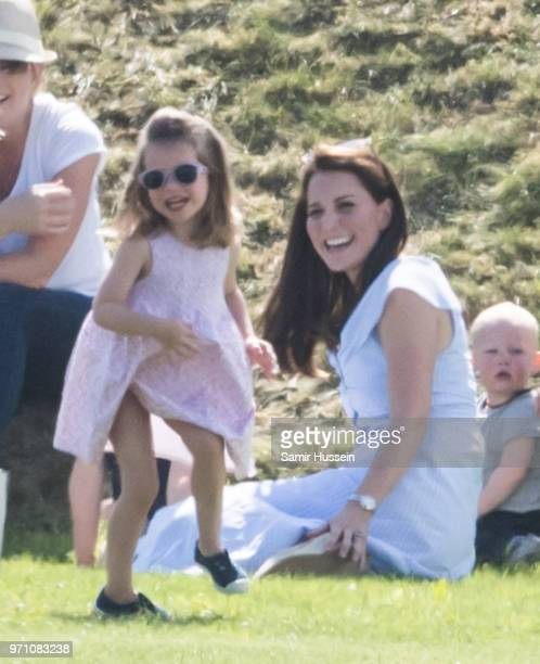 Catherine Duchess of Cambridge and Princess Charlotte of Cambridge attend the Maserati Royal Charity Polo Trophy at Beaufort Park on June 10 2018 in...