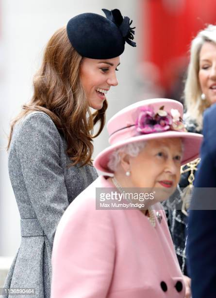 Catherine Duchess of Cambridge and Queen Elizabeth II visit King's College London to officially open Bush House the latest education and learning...