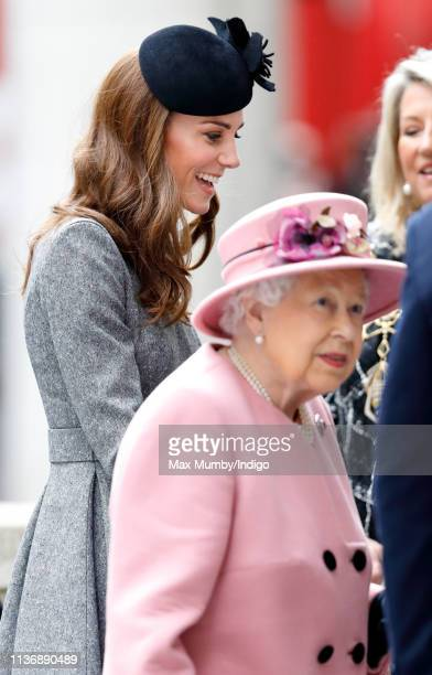 Catherine, Duchess of Cambridge and Queen Elizabeth II visit King's College London to officially open Bush House, the latest education and learning...