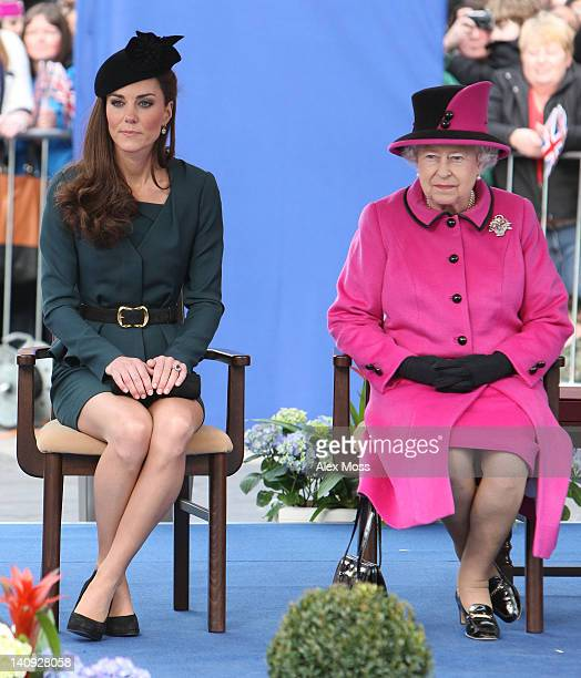 Catherine Duchess of Cambridge and Queen Elizabeth II visit Leicester City as part of the Queen's Diamond Jubilee Tour on March 8 2012 in Leicester...