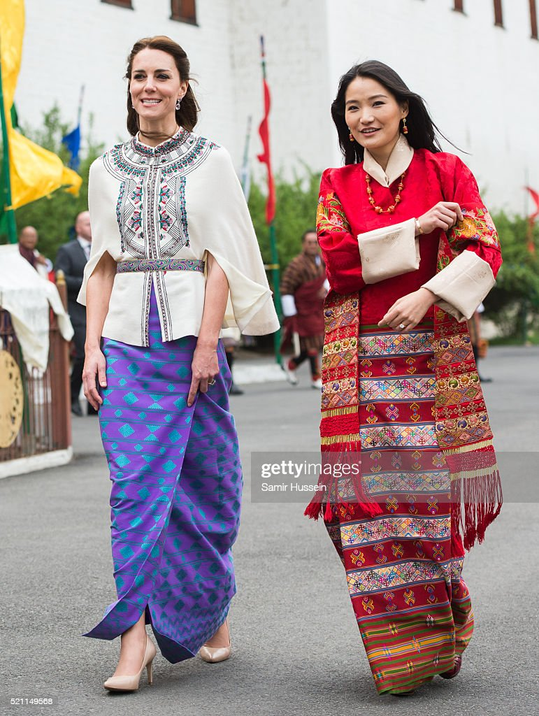 Catherine, Duchess of Cambridge and Queen Jetsun Pem attend a ceremonial welcome and audience at TashichhoDong on April 14, 2016 in Thimphu, Bhutan.