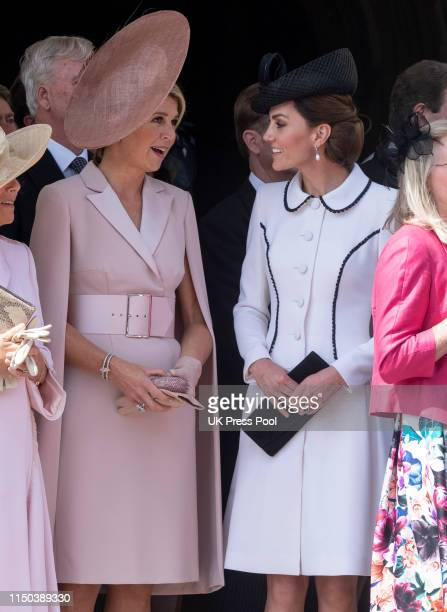 Catherine, Duchess of Cambridge and Queen Maxima of the Netherlands attend the Order of the Garter Service at St George's Chapel on June 17, 2019 in...