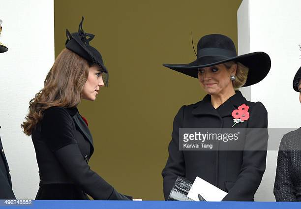 Catherine, Duchess of Cambridge and Queen Maxima of the Netherlands attend the annual Remembrance Sunday Service at the Cenotaph, Whitehall on...