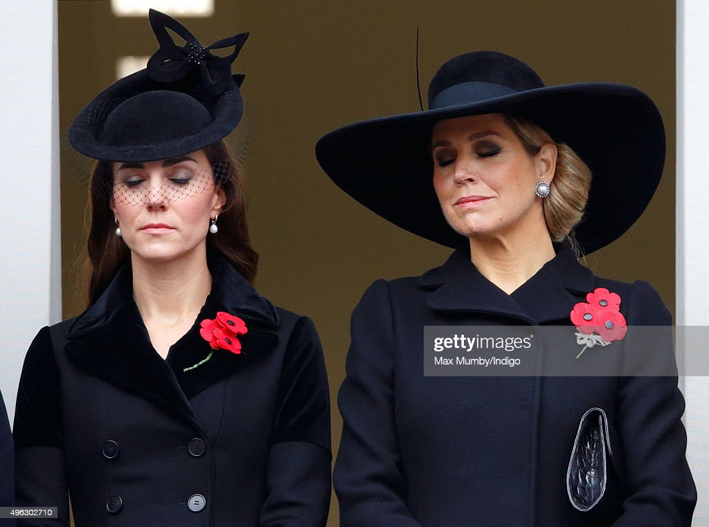 Catherine, Duchess of Cambridge and Queen Maxima of the Netherlands attend the annual Remembrance Sunday Service at the Cenotaph on Whitehall on November 8, 2015 in London, England. The National Service of Remembrance takes place at the Cenotaph in Whitehall, London. The Queen, senior politicians, including the British Prime Minister and former British Prime Ministers, alongside representatives from the armed forces pay tribute to those who have suffered or died at war.