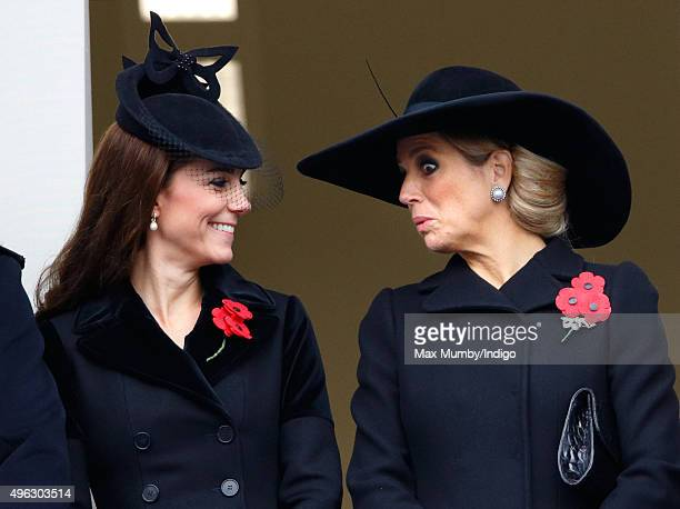 Catherine Duchess of Cambridge and Queen Maxima of the Netherlands attend the annual Remembrance Sunday Service at the Cenotaph on Whitehall on...