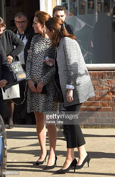 Catherine, Duchess of Cambridge and Rebecca Deacon departs after visiting the Resort Studios on March 11, 2015 in Margate, England.