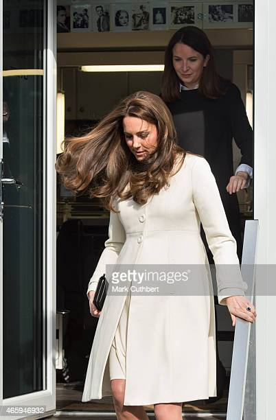 Catherine Duchess of Cambridge and Rebecca Deacon during an official visit to the set of Downton Abbey at Ealing Studios on March 12 2015 in London...