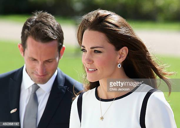 Catherine Duchess of Cambridge and Sir Ben Ainslie arrive at the National Maritime Museum in Greenwich for the Ben Ainslie America's Cup Launch on...