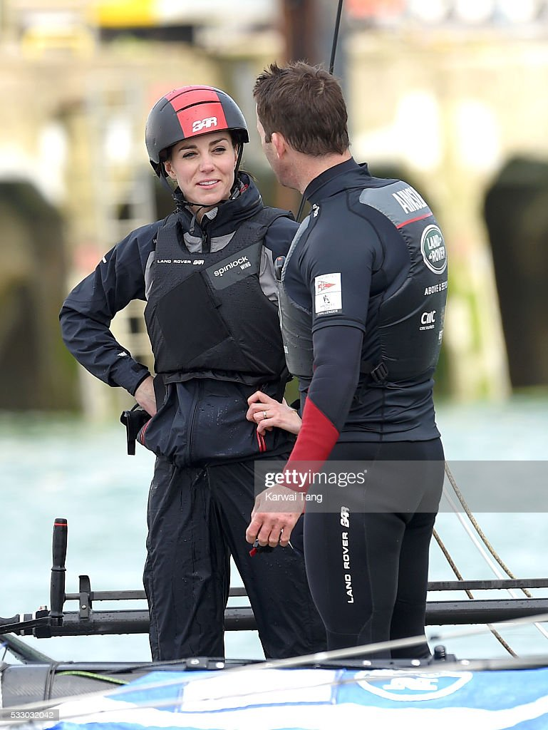 Catherine, Duchess of Cambridge and Sir Ben AInslie onboard the Land Rover BAR training boat on May 20, 2016 in Portsmouth, England.