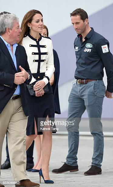 Catherine, Duchess of Cambridge and Sir Ben Ainslie visit the Land Rover BAR and the 1851 Trust on May 20, 2016 in Portsmouth, England.