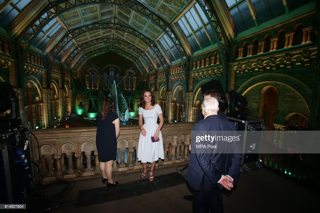 Catherine, Duchess of Cambridge and Sir David Attenborough (right) are shown a blue whale skeleton named Hope by museum director Sir Michael Dixon during the reopening of Hintze Hall at the Natural History Museum on July 13, 2017 in London, England..