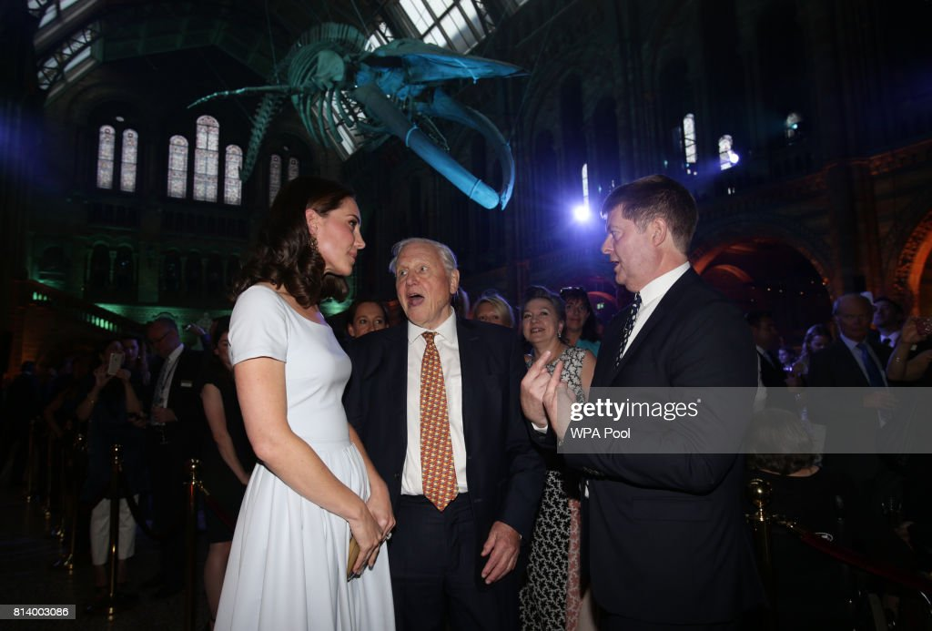 Catherine, Duchess of Cambridge and Sir David Attenborough attend the reopening of Hintze Hall at the Natural History Museum on July 13, 2017 in London, England..