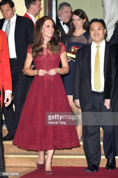 Catherine Duchess of Cambridge and Sophie Agnew attend the opening night of 42nd Street at Theatre Royal on April 4 2017 in London England The...