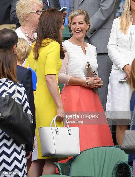 Catherine, Duchess of Cambridge and Sophie, Countess of Wessex attend day ten of the Wimbledon Tennis Championships at Wimbledon on July 07, 2016 in...