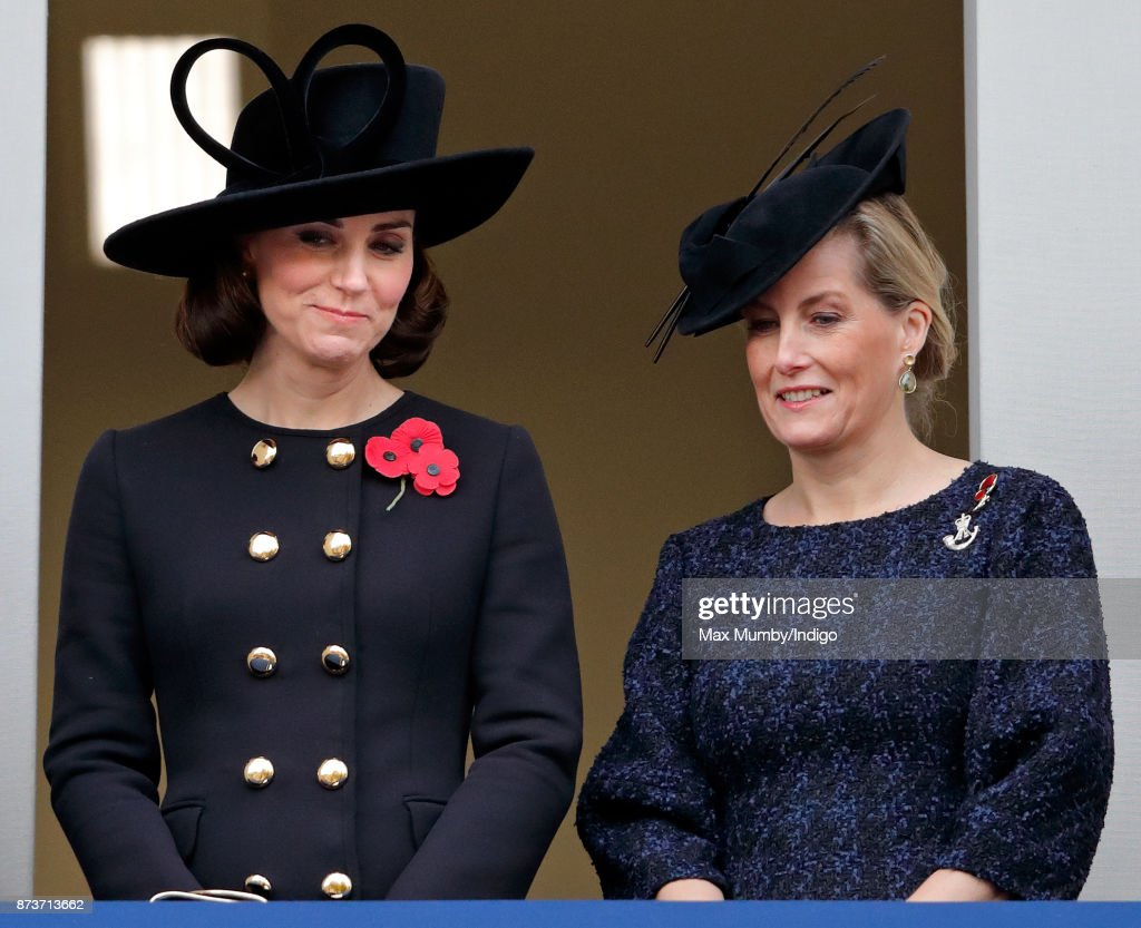 Catherine, Duchess of Cambridge and Sophie, Countess of Wessex attend the annual Remembrance Sunday Service at The Cenotaph on November 12, 2017 in London, England. This year marks the first time that Queen Elizabeth II watched the service from a balcony rather than lay her own wreath, instead Prince Charles, Prince of Wales laid her wreath on her behalf.