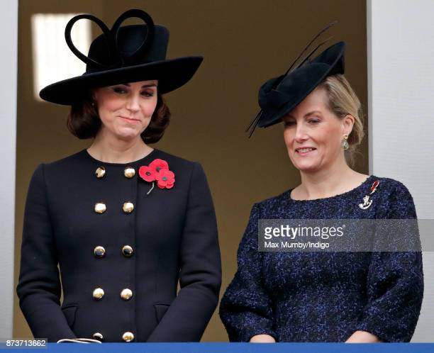 Catherine Duchess of Cambridge and Sophie Countess of Wessex attend the annual Remembrance Sunday Service at The Cenotaph on November 12 2017 in...