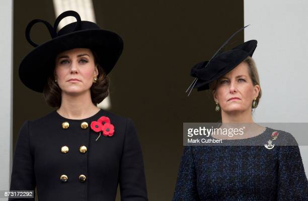 Catherine Duchess of Cambridge and Sophie Countess of Wessex during the annual Remembrance Sunday memorial on November 12 2017 in London England The...
