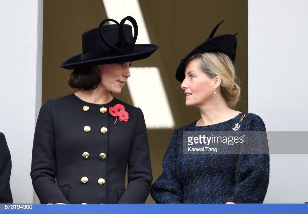 Catherine, Duchess of Cambridge and Sophie, Countess of Wessex during the annual Remembrance Sunday Service at The Cenotaph on November 12, 2017 in...
