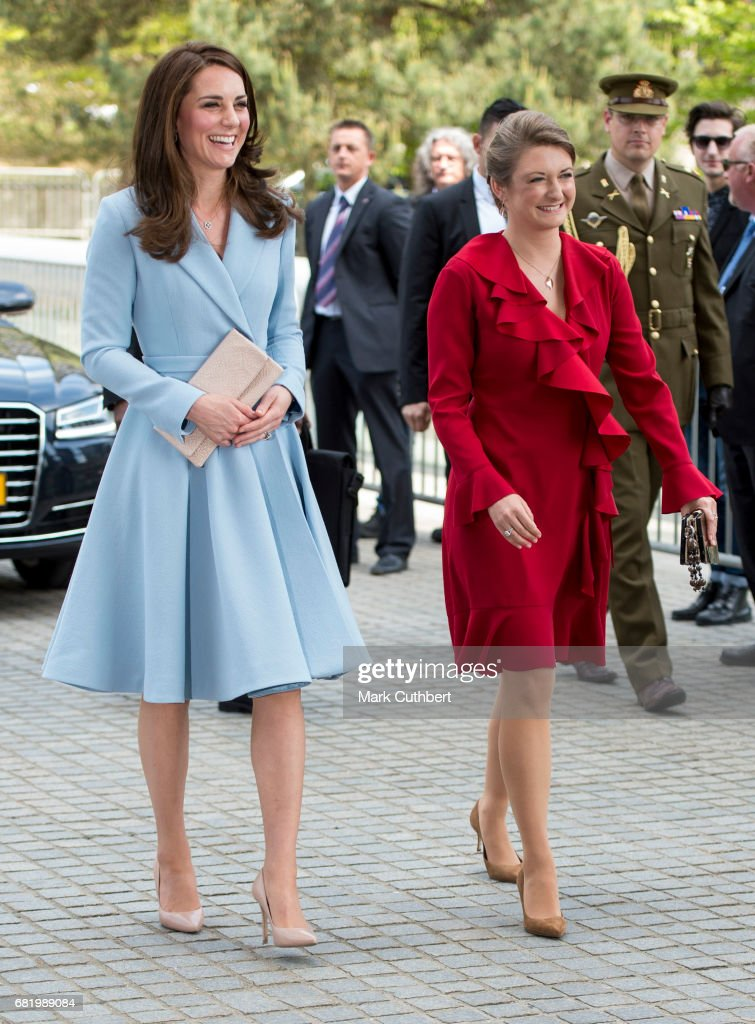 Catherine, Duchess of Cambridge and Stephanie, Hereditary Grand Duchess of Luxembourg visit Grand Duke Jean Museum of Modern Art during a one day visit to Luxembourg on May 11, 2017 in Luxembourg, Luxembourg.