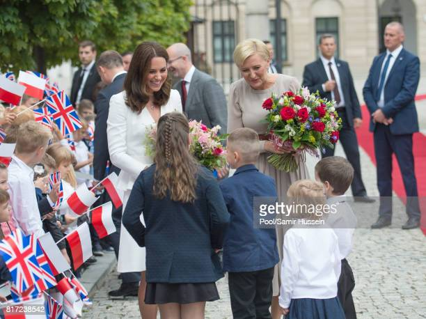 Catherine Duchess of Cambridge and the first Lady Agata KornhauserDuda visit the Presidential Palace during an official visit to Poland and Germany...
