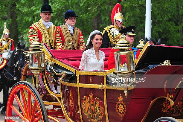 Catherine, Duchess of Cambridge and TRH Prince William, Duke of Cambridge depart Westminster Abbey after their marriage on April 29, 2011 in London,...