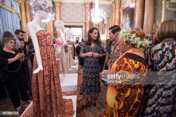 Catherine Duchess of Cambridge and Tukua Turia from The Cook Islands attend The Commonwealth Fashion Exchange Reception at Buckingham Palace on...