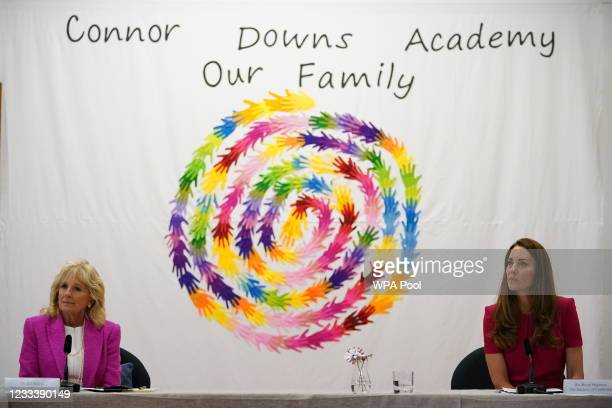 Catherine, Duchess of Cambridge and U.S. First Lady Dr Jill Biden, leading a roundtable discussion with a number of representatives from the early...