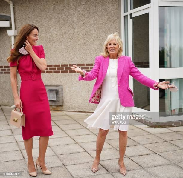 Catherine, Duchess of Cambridge and U.S. First Lady Dr Jill Biden during a visit to Connor Downs Academy, during the G7 summit in Cornwall on June...