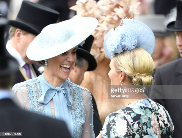 Catherine, Duchess of Cambridge and Zara Phillips attend day one of Royal Ascot at Ascot Racecourse on June 18, 2019 in Ascot, England.