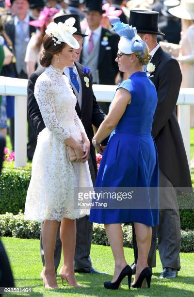 Catherine Duchess of Cambridge and Zara Phillips attend Royal Ascot 2017 at Ascot Racecourse on June 20 2017 in Ascot England