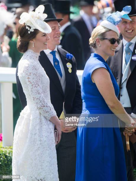 Catherine Duchess of Cambridge and Zara Philllips attend Royal Ascot 2017 at Ascot Racecourse on June 20 2017 in Ascot England