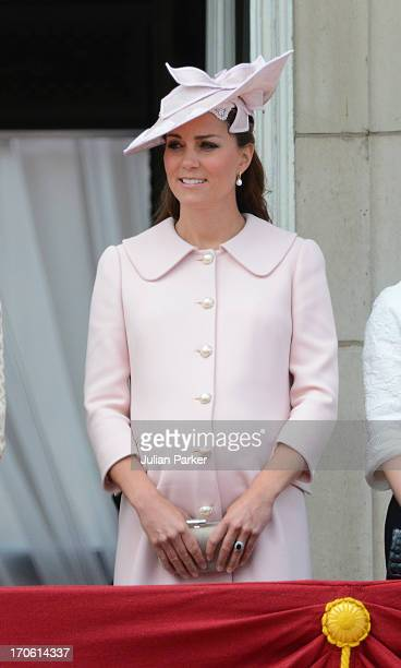 Catherine Duchess of Cambridge appears on the balcony of Buckingham Palace after the annual Trooping The Colour ceremony on June 15 2013 in London...