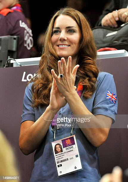 Catherine Duchess of Cambridge applauds during the Women's Handball Preliminaries Group A match between Great Britain and Croatia on Day 9 of the...