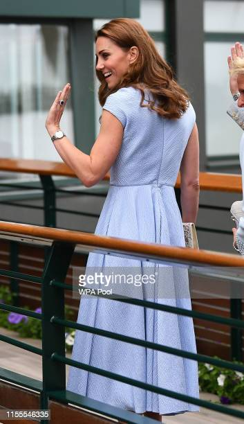 Catherine Duchess of Cambridge arrives ahead of the Men's Singles Final on day thirteen of the Wimbledon Championships at the All England Lawn Tennis...