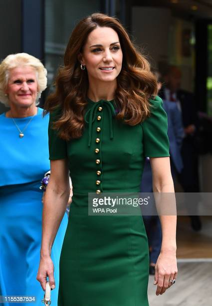 Catherine, Duchess of Cambridge arrives ahead of the Women's Final on day twelve of the Wimbledon Championships at the All England Lawn Tennis and...