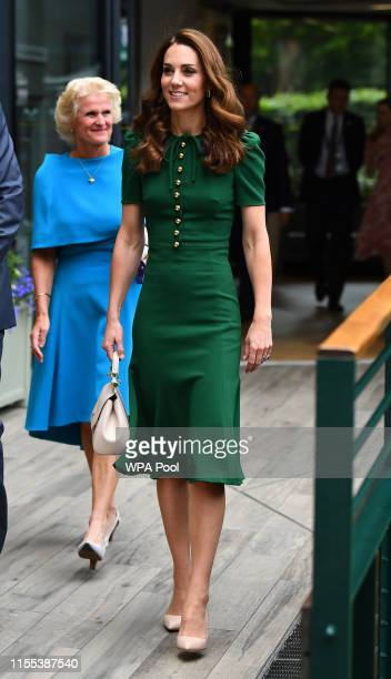 Catherine Duchess of Cambridge arrives ahead of the Women's Final on day twelve of the Wimbledon Championships at the All England Lawn Tennis and...