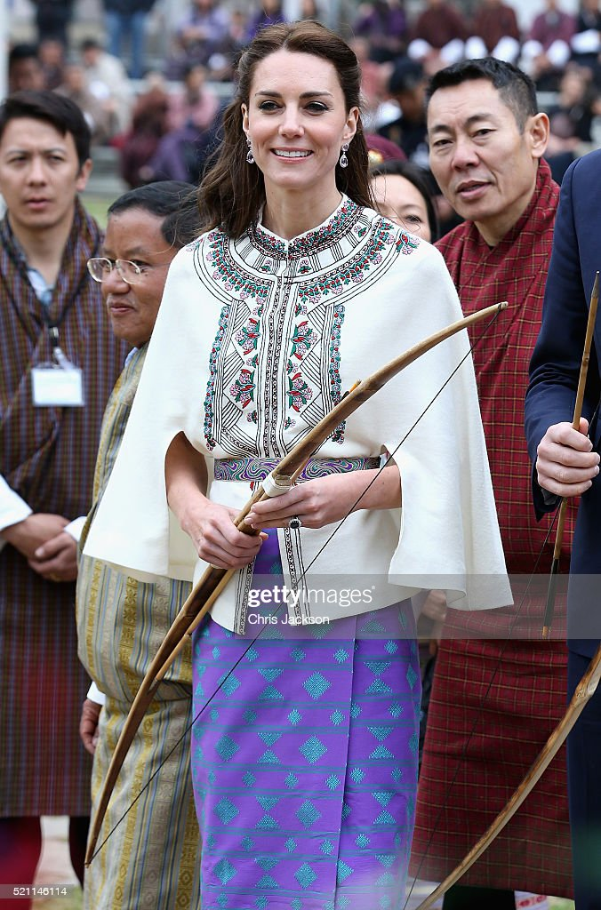 Catherine, Duchess of Cambridge arrives at a demonstration of Bhutanese sports at the National Stadium on the first day of a two day visit to Bhutan on the 14th April 2016 in Paro, Bhutan. The Royal couple are visiting Bhutan as part of a week long visit to India and Bhutan that has taken in cities such as Mumbai, Delhi, Kaziranga, Bhutan and Agra. (Photo by Chris Jackson/Getty Images)2