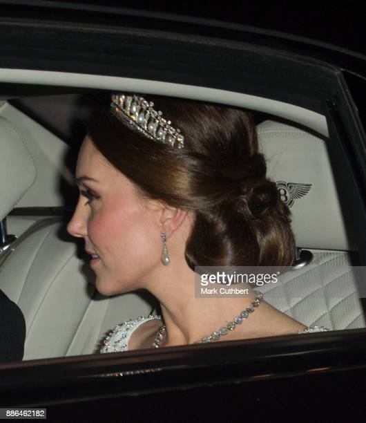 Catherine Duchess of Cambridge arrives at a Diplomatic Reception at Buckingham Palace on December 5 2017 in London England