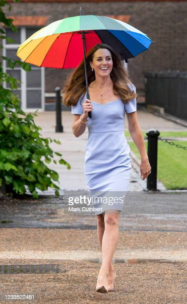 Catherine, Duchess of Cambridge arrives at a reception to meet parents of users of a Centre for Early Childhood in the grounds of Kensington Palace...