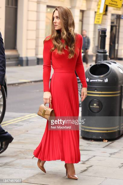 """Catherine, Duchess of Cambridge arrives at BAFTA on October 19, 2021 in London, England. Led by the Forward Trust, """"Taking Action on Addiction"""" is a..."""