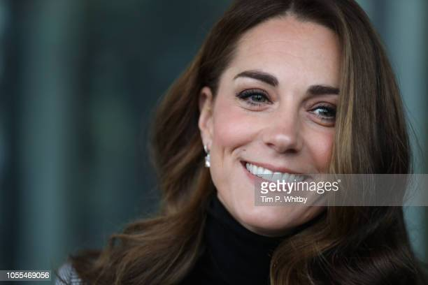 Catherine, Duchess of Cambridge arrives at Basildon Sporting Village on October 30, 2018 in London, England.