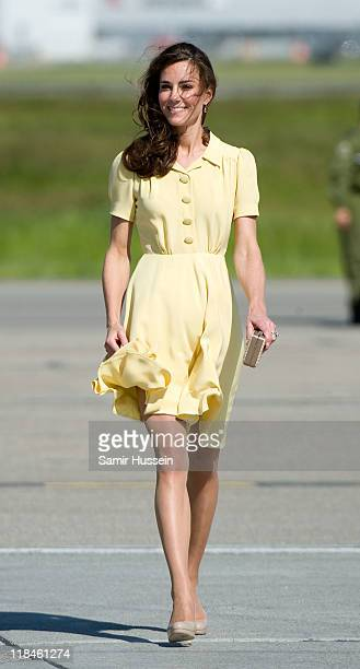 Catherine, Duchess of Cambridge arrives at Calgary Airport on day 8 of the Royal couple's tour of North America on July 7, 2011 in Calgary, Canada.