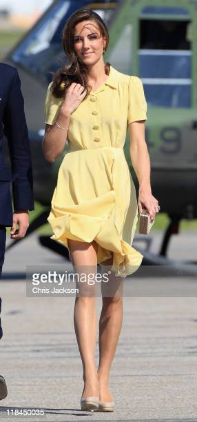 Catherine Duchess of Cambridge arrives at Calgary Airport on July 7 2011 in Yellowknife Canada The newly married Royal Couple are on the eighth day...