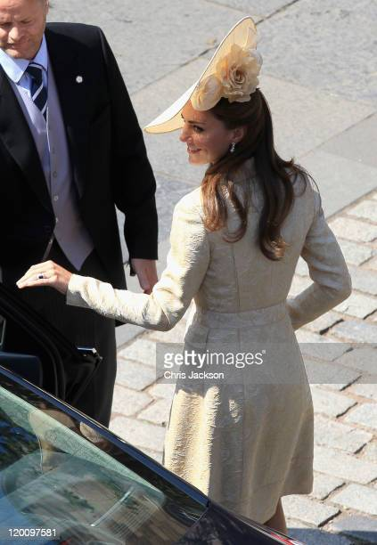 Catherine, Duchess of Cambridge arrives at Canongate Kirk on the afternoon of the wedding of Mike Tindall and Zara Philips on July 30, 2011 in...