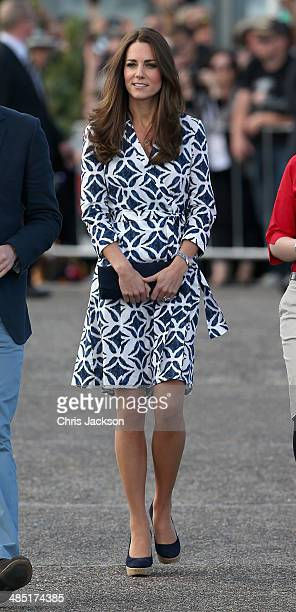 Catherine, Duchess of Cambridge arrives at Echo Point in the Blue Mountains on April 17, 2014 in Katoomba, Australia. The Duke and Duchess of...
