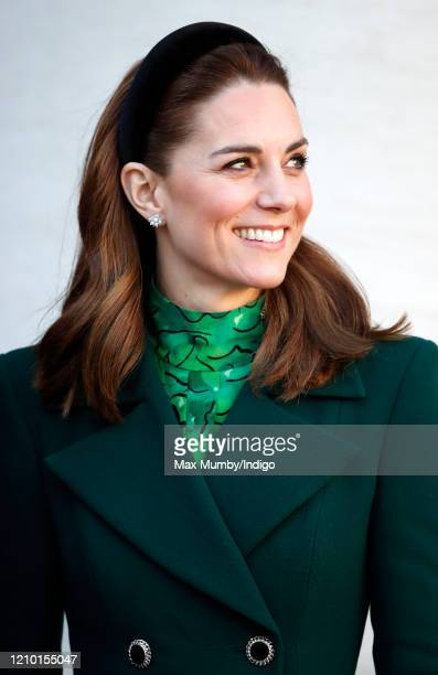 Catherine Duchess of Cambridge arrives at Government Buildings to meet Ireland's Taoiseach Leo Varadkar on March 3 2020 in Dublin Ireland The Duke...