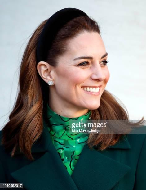 Catherine, Duchess of Cambridge arrives at Government Buildings to meet Ireland's Taoiseach Leo Varadkar on March 3, 2020 in Dublin, Ireland. The...